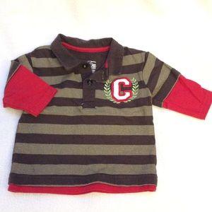 Cherokee 100% cotton long sleeve polo shirt 3-6M